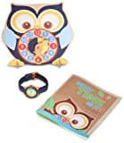 Sprout Kids ST/1050BLUSET Blue Organic Cotton Strap Bamboo Dial and Time Teacher Clock Set Watch