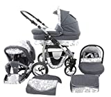 Chilly Kids Dino 3 in 1 Kinderwagen Set 40 Graphit