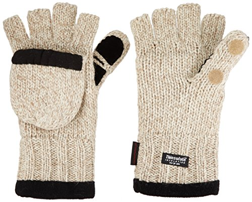 Best Review Of Heat Factory Fleece-Lined Ragg Wool Gloves with Fold-Back Finger Caps and Hand Heat Warmer Pockets, Women's