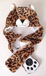 Leopard Long Animal Faux Fur Head Trapper Hat Hood / Scarf / Snood / Gloves all in one Ladies / Men / Kids / Children