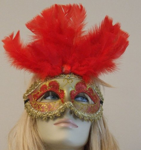 Athena Red Jewel Venetian Style Halloween Mardi Gras Masquerade Party