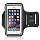 MoKo Sports Armband for iPhone 6 Plus 5.5, Samsung Galaxy Note 4 / 3 / 2, Droid Turbo and LG G3 - Key holder Slot, Perfect Earphone Connection while Workout Running, BLACK (Compatible with Cellphones up to 5.7 Inch)