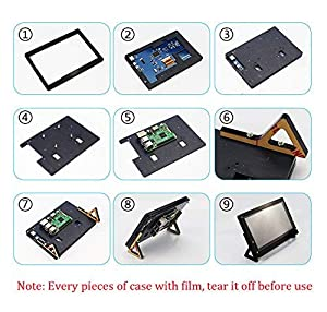 Etoput 7 Inch Touch Screen Case Holder for Raspberry Pi 3/3B+ (B Plus) LCD Touch Screen Display Monitor (Color: Black, Tamaño: 7)