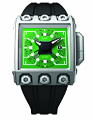 RSW Men's 7120.MS.R1.HL6.00 Outland Grey IP Stainless Steel Automatic Sweeping Seconds Green Dial Luminous Rubber Date Watch