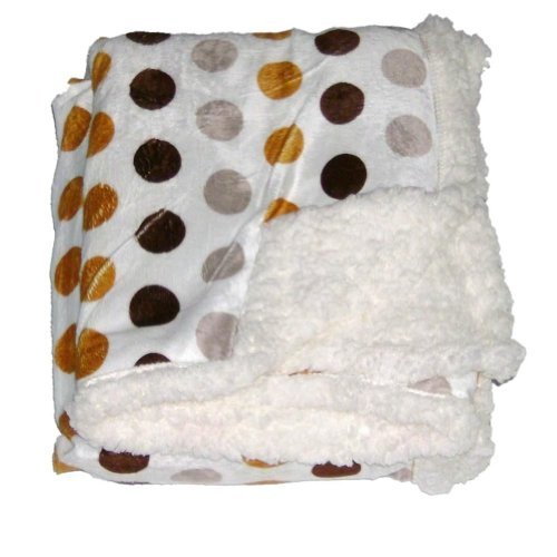 Northpoint Pearlie Micro Sherpa Fleece Micromink Throw Blanket Brown Gold Dots front-1054720