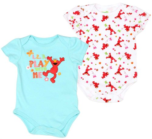 Sesame Street Baby Girls 2pc Elmo Play With Me Creeper Set