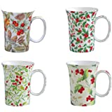 Gracie Bone China Classic Christmas 10 Ounce Trumpet Mug Assorted Set of 4
