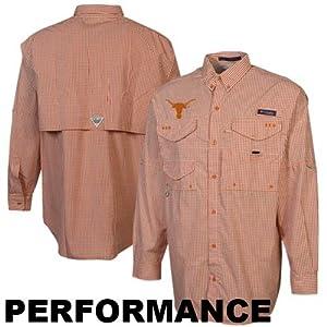 NCAA Columbia Texas Longhorns Gingham Super Bonehead Long Sleeve Button-Down Shirt -... by Columbia