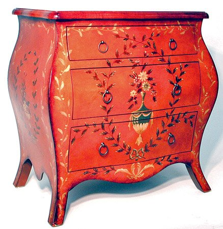 Cheap Unique Bold Luxury Accent Furniture & Accessories – 28″ Orange Lacquer Bombay Bedside Chest Nightstand Endtable