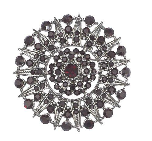 PILGRIM 622-305 Brosche, Schwarzmetal, rot