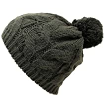 Grey Twisted Cable Knit Winter Pom-Pom Beanie Hat