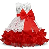 NNJXD Girl Ruffles Vintage Embroidered Sequins Flower Wedding Dress Size (130) 5-6 Years Red