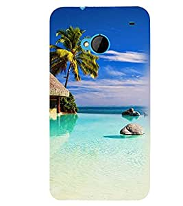 Printvisa Beautiful Seaside With Palm Tree Back Case Cover for HTC One M7::HTC M7