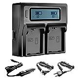 Neewer® Dual LCD Battery Charger for Nikon EN-EL14 Batteries Compatible With Nikon D5300 D5200 D5100 D3100 D3200 D3300 P7100 P7000 P7700 DSLR(US Plug + EU Plug + Car Charger Adapter)