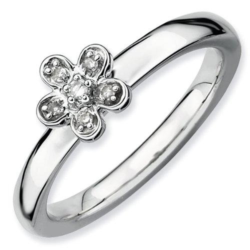 Diamond Flower Stackable Ring 1/20ctw - Size 9