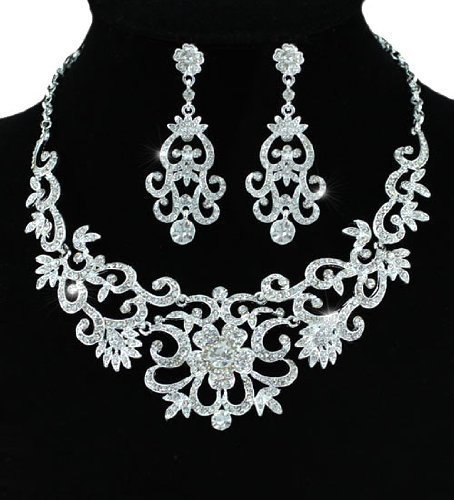 Vintage Shimmering Crystal Superior Quality Wedding Bridal Queen Jewellery Necklace Earrings Set with PreciousBags Dust Bag