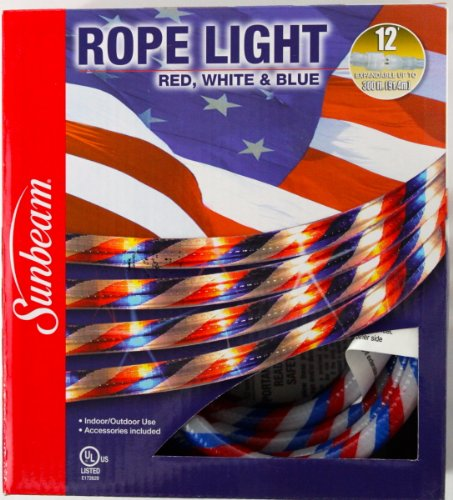 Red White & Blue 12' Rope Light for Indoor / Outdoor Use for July 4th, Celebrations and Holidays