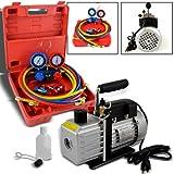 4CFM 1/3HP Rotary Vane Vacuum Pump + R134A Manifold Gauge Tester Charging + Hose