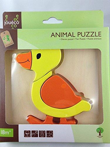 Jouéco® - Tier Holz puzzle - Einlegepuzzle - Holzpuzzle - Schichtenpuzzle - Steckpuzzle verschiedene Motive (Ente)