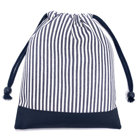 ごきげんランチの巾着(中サイズ)マチ無し給食袋 ヒッコリーストライプ・紺 × 帆布・紺 日本製 N7070400