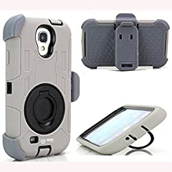 Samsung S4 Case,wisecase ® Shock&drop-proof Amy-grade Protective Hard Defender with 360 Degree Rotating Ring Bracket Protective Case and Tpu Rubber & Silicone Case with Stand & Clip Three Layer Hard Shell Cover Holster for Samsung Galaxy S4 I9500 (Grey+black)