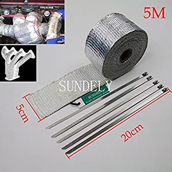 SUNDELY® Silver Color Glassfiber Exhaust Pipe Header Heat Wrap Resistant Downpipe Tape Roll 2in X 16ft (5cm X 5m) + 5 Metal Ties