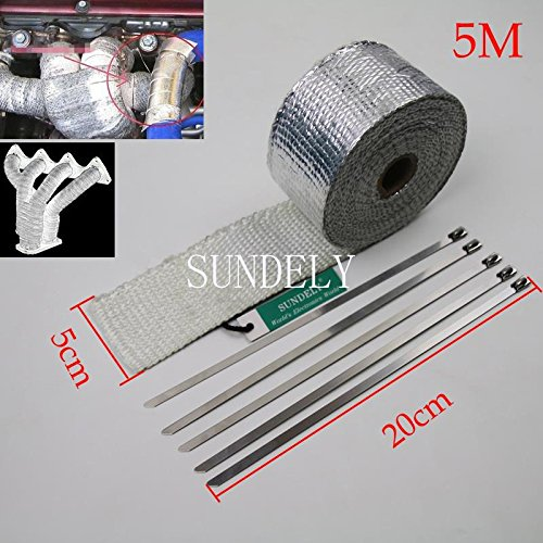 SUNDELY® Silver Color Glassfiber Exhaust Pipe Header Heat Wrap Resistant Downpipe Tape Roll 2in X 16ft (5cm X 5m) + 5 Metal Ties 1