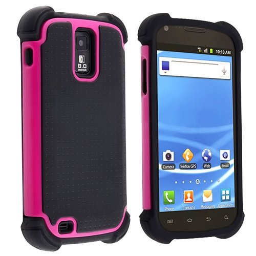 Hybrid Armor Case for Samsung Galaxy S II T-Mobile T989, Black / Hot Pink