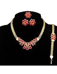 Beora Gold Plated Austrian Diamonds Red Flower Jewellery Set - B00TK4SL3A