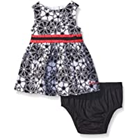 Printed Peached Poplin Dress & Panty for Baby Girls