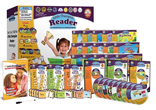 Early-Reading-Program-for-Baby-Toddler-Preschool-Kindergarten-Alphabet-Vowel-Phonics-200-Sight-Words-Little-Champion-Reader-9-DVD-Flash-card-Book-Kit