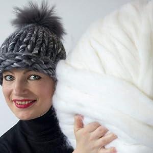 DIRUNEN Merino Wool Yarn Big Chunky Yarn Super Wool Roving Extreme Arm Knitting Giant Chunky Knit Blankets Throws White 4.4 lbs (Color: White, Tamaño: 4.4 lbs)