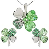 DaisyJewel Spring Green Crystal Silvertone Lucky Clover Pendant Necklace and Stud Earrings Set