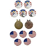 Golf Ball Marker Magnetic USA Flag Lot Of 10 With Hat Clip Lot Of 2