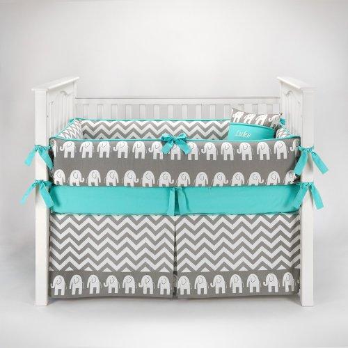 Elephant Chevron Zig Zag Gray & Teal Baby Bedding - 5Pc Crib Set By Sofia Bedding