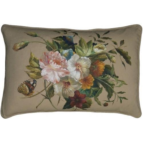 New Hand-Painted Linen Throw Pillow 16'X24' Butterfly And Flowers