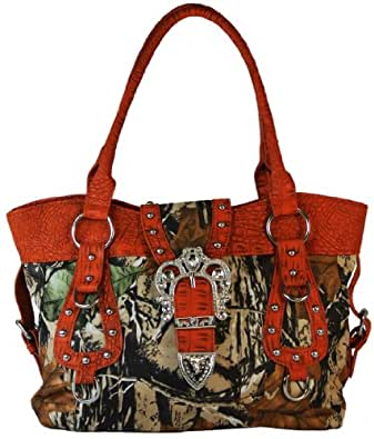 Yesir Handbags Camo Satchel Western Style Purse Bling Buckle Handbag (Orange)