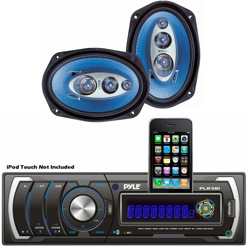 Pyle Audio Radio System For Your Home, Studio, Etc. - Plr38I Am/Fm/Mp3/Wma Detachable Face Player W/ Usb/Sd Reader & Ipod Interface - Pl6984Bl 6''X 9'' 400 Watt Four-Way Speakers (Pair)