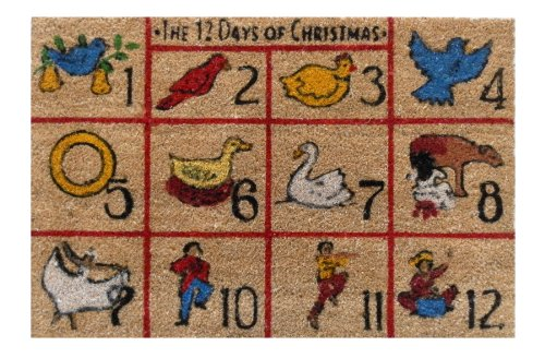 """12 Days Of Christmas Coir With Vinyl Backing 18""""X30"""" Doormat"""
