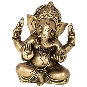 Kapasi Handicrafts Kapasi Handicrafts Ganesha Sitting Brass Idol S