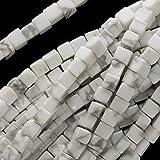 White Howlite 4X4X4mm Square Cube Beads 16 Inch Strand