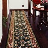 廊下敷きカーペット ベルギー製廊下用絨毯 (グリーン) 幅66cm×長さ440cm