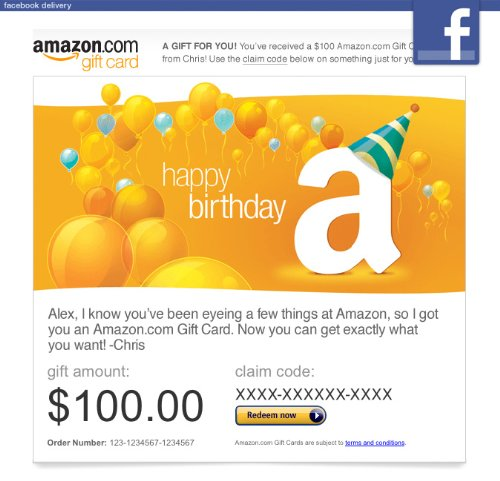 Amazon Gift Card – Facebook – Happy Birthday Balloons