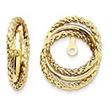 14k Yellow Gold Polished & Twisted Fancy Earrings Jackets