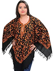 Exotic India Poncho From Kashmir With Ari Hand-Embroidered Paisleys All-Over