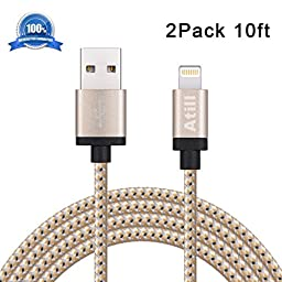 Atill 2pcs 10ft Lightning Cable Popular Nylon Braided Extra Long USB Cord Charging Cable with 8 pin Aluminum Heads for iPhone 6/6s/6 plus/6s plus,5c/5s/5/SE,iPad Air/Mini,iPod Nano/Touch(Golden)