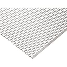 "304 Stainless Steel Perforated Sheet, Unpolished (Mill) Finish, 0.0355"" Thickness, 20 Gauge, 36"" Width, 40"" Length, Staggered Holes, 0.25"" Center to Center"