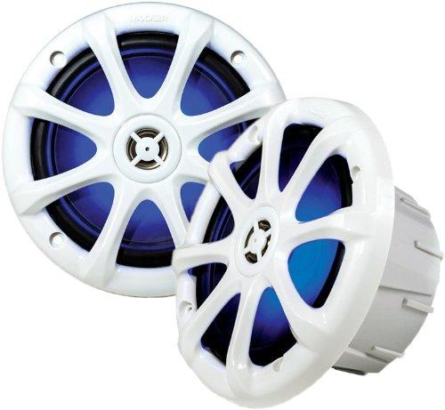 "Kicker 11Km6Lw 6"" 2-Way Km Series Light-Up Water-Resistant Coaxial Marine & Boat Speakers W/ 1/2"" Dome Tweeters"