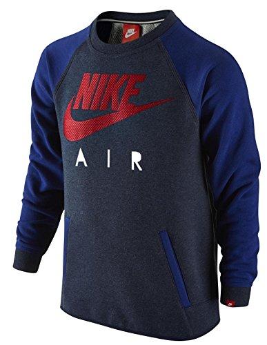 Nike YA FT HBR crew-air YTH–Felpa per ragazzo, Bambino, Gris / Azul Marino, L