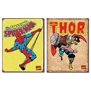 Nostalgic Superhero Tin Metal Sign Bundle - 2 comic book hero signs: Spider-Man Retro & Thor Retro 0113